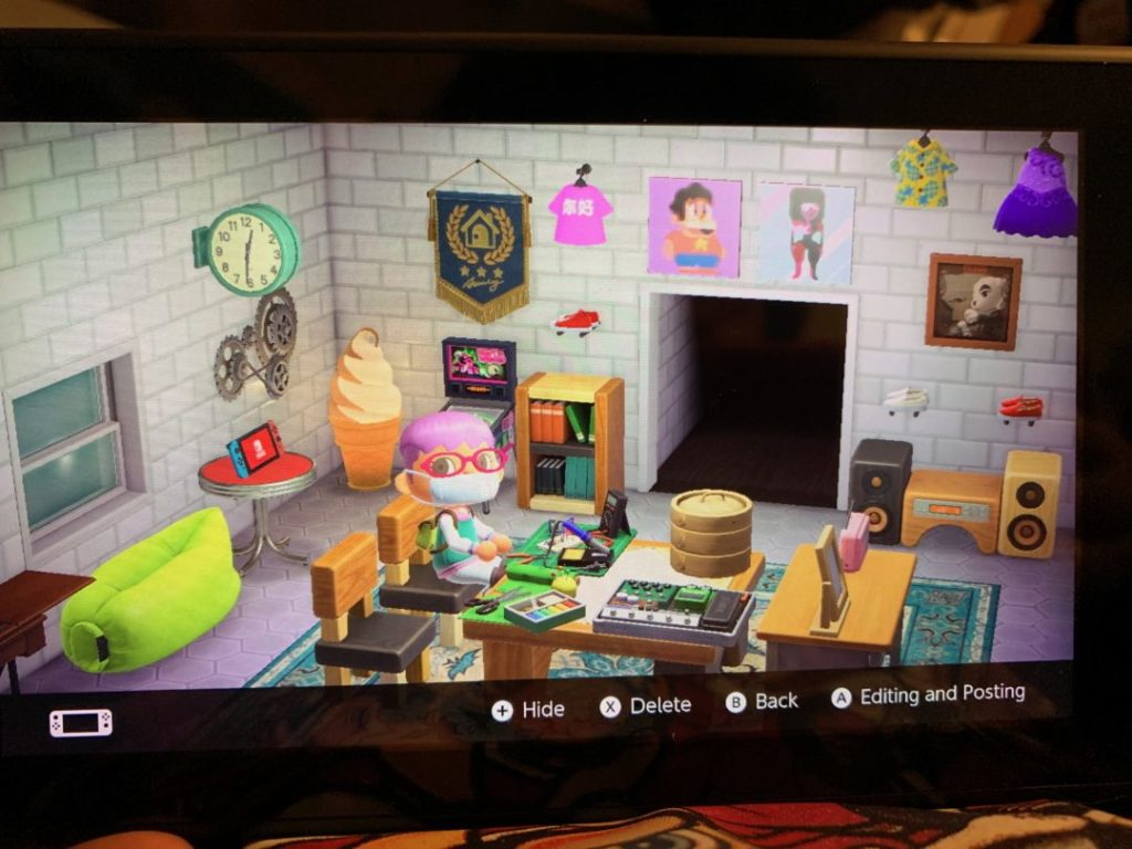 My Animal Crossing New Horizon's home with electronic, crafting, and pedal kits on the table.